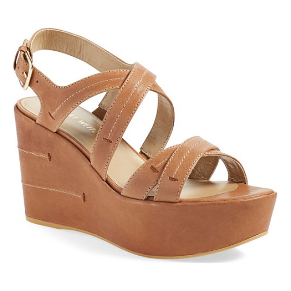 STUART WEITZMAN doublexing wedge sandal - Meticulous topstitching adds subtle texture to a chic...