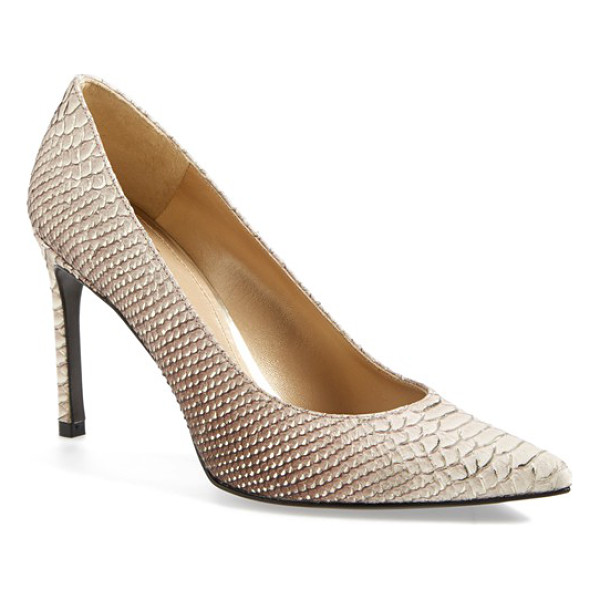 STUART WEITZMAN heist pointy toe pump - Gilded python embossing adds exotic texture to a classic...