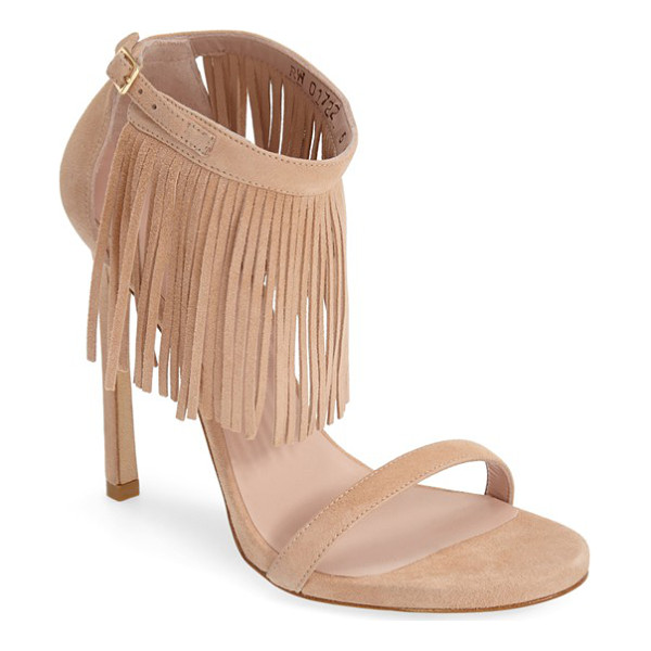 STUART WEITZMAN lovefringe suede sandal - A boho-chic, ankle-strap sandal combines two of the...