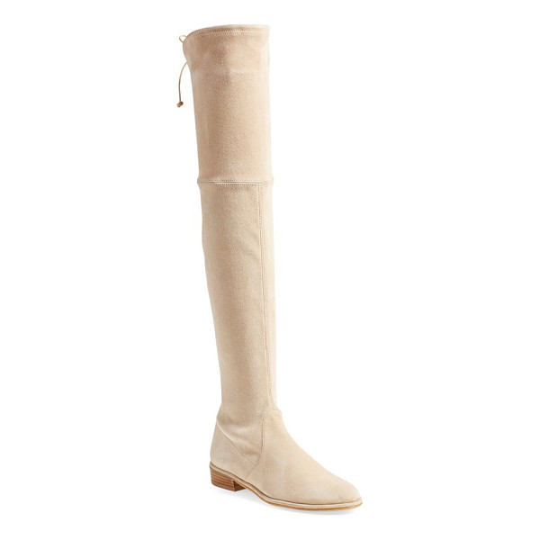 STUART WEITZMAN 'lowland' over the knee boot - A single slim lace cinches the back of a luxe stretch-suede...