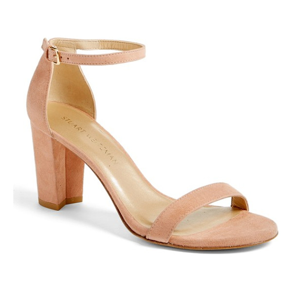 STUART WEITZMAN nearlynude ankle strap sandal - A slim, demure ankle strap tops a lush suede sandal set on...