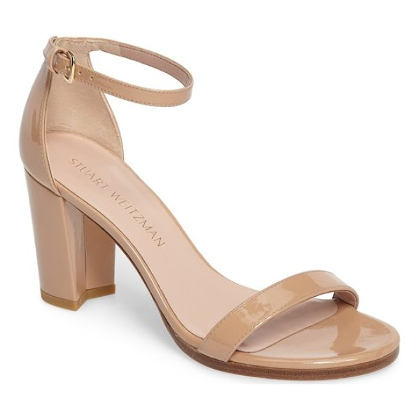 STUART WEITZMAN nearlynude ankle strap sandal - A slim, demure ankle strap tops a lush sandal set on a...