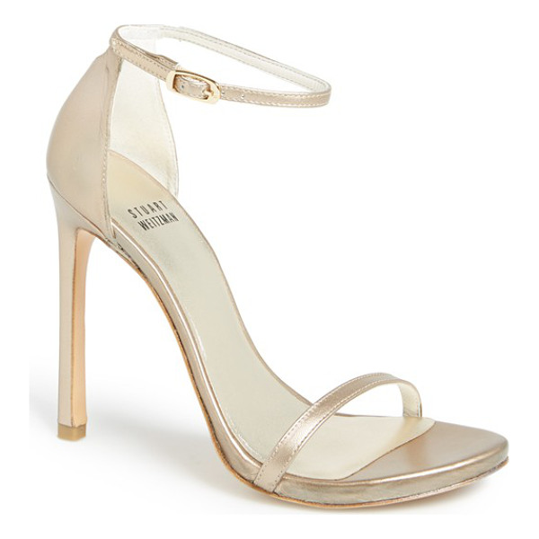 STUART WEITZMAN 'nudist' sandal - Subtle texture lends depth and luster to a minimalist...