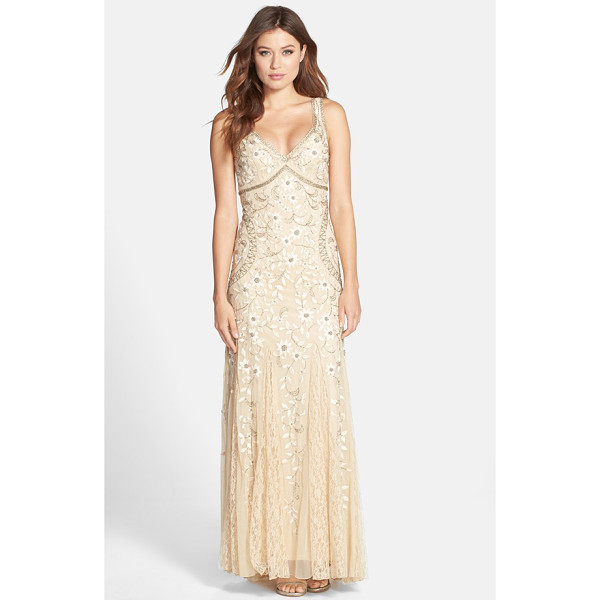 SUE WONG beaded mesh gown - Glistening, beaded embroidery blooms across this shapely...