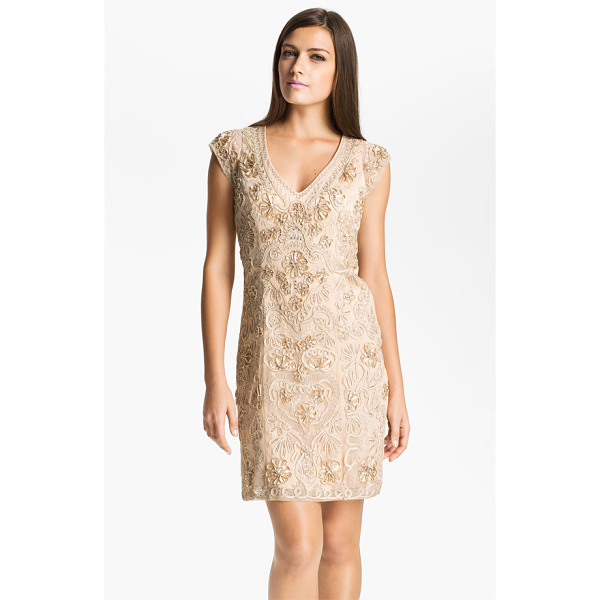 SUE WONG embellished illusion back sheath dress - An intricate design of ribbons, soutache and beadwork...