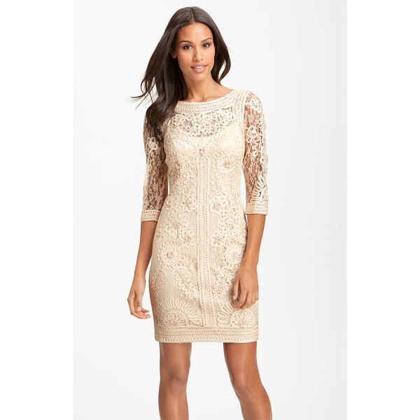 SUE WONG ribbon trim illusion bodice dress - A sophisticated tonal overlay of embroidery and applique...