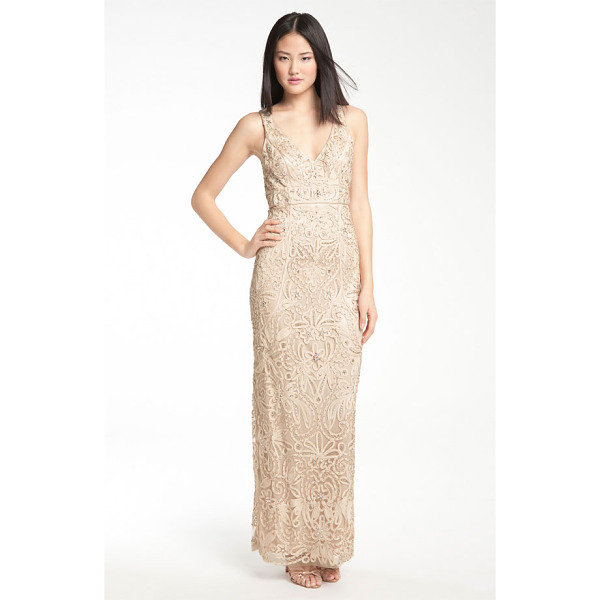 SUE WONG v-neck embroidery & bead overlay gown - Ornately embellished embroidery lends lush texture to the...