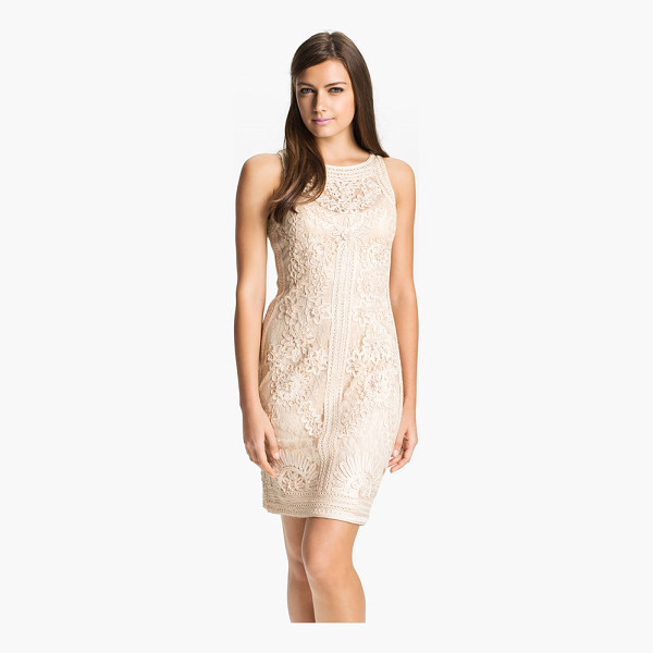 SUE WONG illusion bodice lace sheath dress - Crocheted flowers and embroidered trim embellish a romantic...
