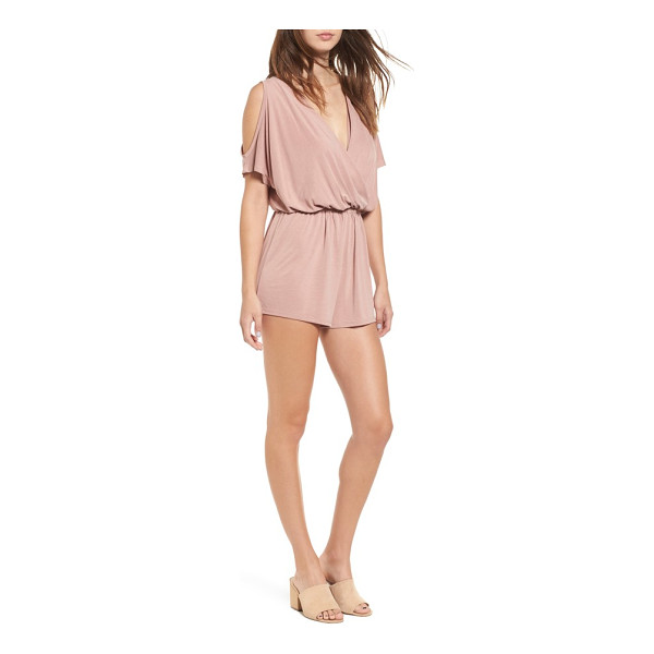 SUN & SHADOW cold shoulder romper - Softly draped blouson styling and flirty cold-shoulder...
