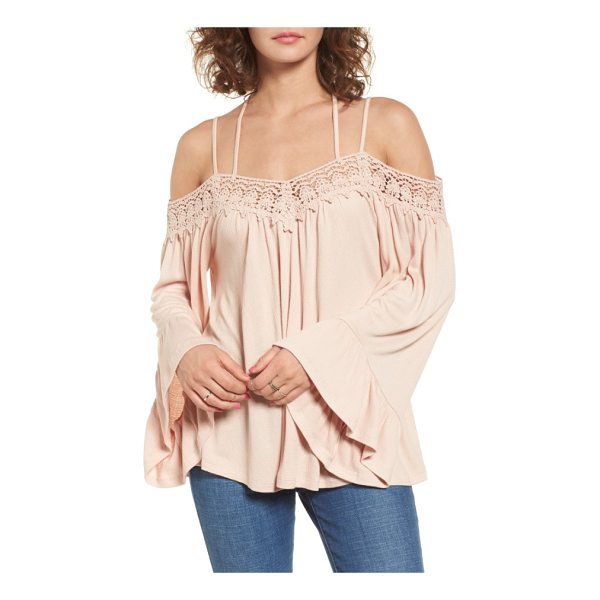 SUN & SHADOW crochet trim off the shoulder top - Embrace your inner bohemian in this romantic...