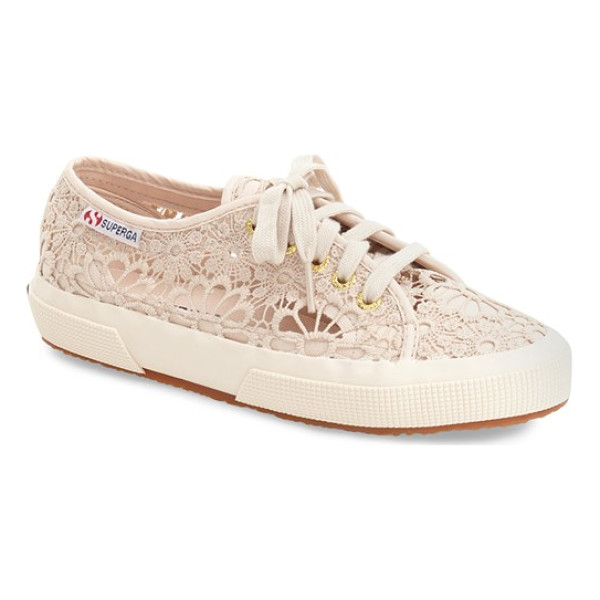 SUPERGA 'cot' macrame sneaker - A lacy macrame upper lends a touch of floral sweetness to a
