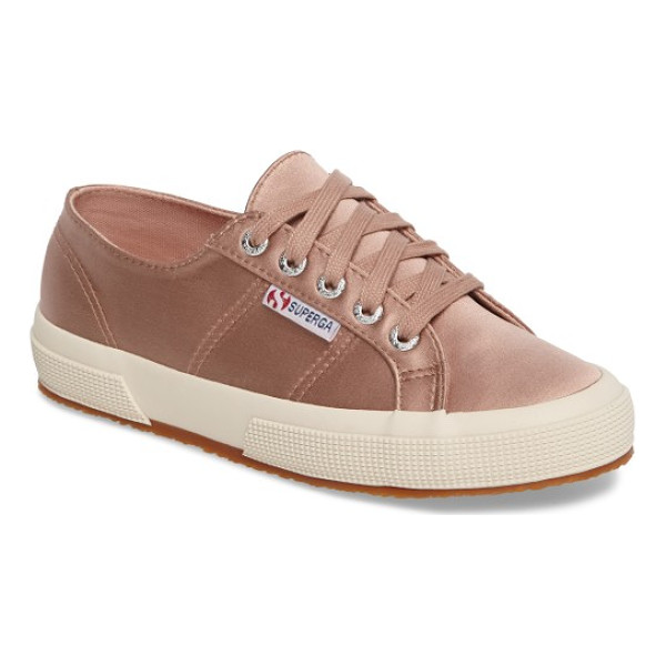 SUPERGA satin sneaker - Clean-lined and classic, this rubber-soled sneaker from...