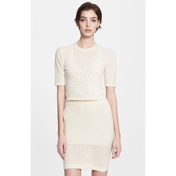 T BY ALEXANDER WANG pointelle knit crop top - Pointelle stitches delicately pattern a fitted and softly...