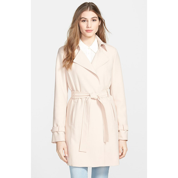 T TAHARI daphine belted trench coat - A minimum of detailing and a wrap silhouette create relaxed...