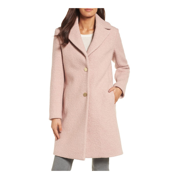 T TAHARI 'tessa' boiled wool blend coat - Boiled woolen texture adds a cozy tactile element to this...