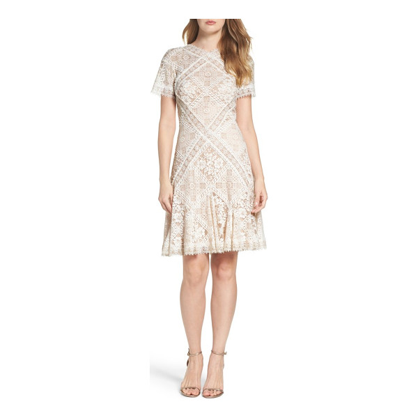 TADASHI SHOJI aurore fit & flare dress - Delicate floral lace with scalloped edges graces this...