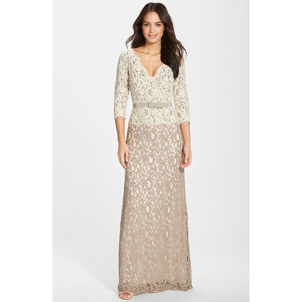 TADASHI SHOJI belted lace gown - It's no secret that lace is timeless and sophisticated, but...
