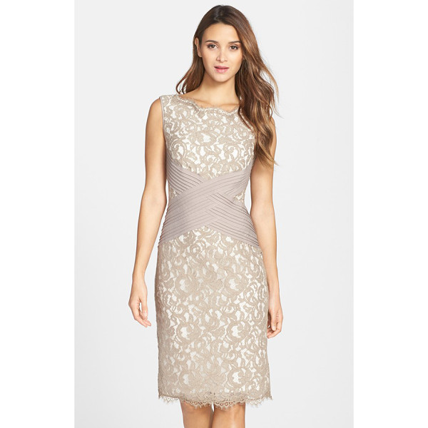 TADASHI SHOJI crisscross waist lace sheath dress - Pleated bands intersect at the waist of a lace cocktail...
