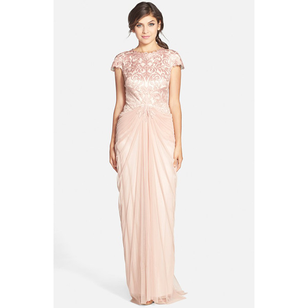 TADASHI SHOJI cutout bodice & tulle skirt gown - Exquisite satin cutwork spans the bodice and cap sleeves of...