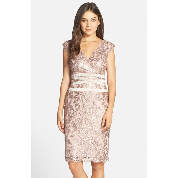 TADASHI SHOJI sequin lace sheath dress - Luminous sequins and metallic threads highlight the...