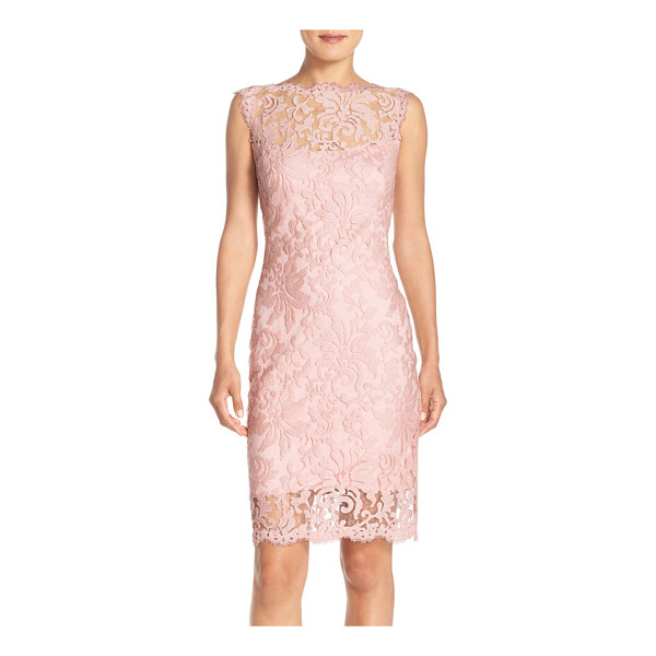 TADASHI SHOJI embroidered lace sheath dress - Intricate embroidery creates gorgeous floral designs all...