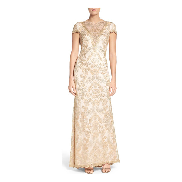 TADASHI SHOJI embroidered gown - Shimmery embroidery over wispy mesh flows with this...