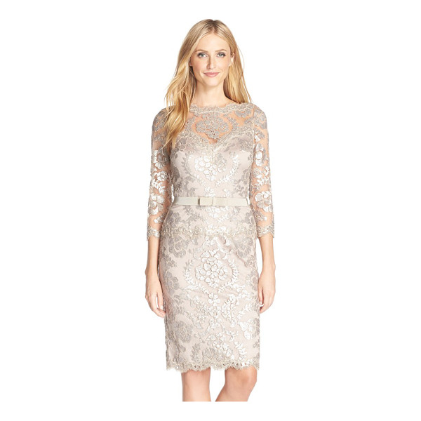 TADASHI SHOJI embroidered lace belted dress - The always-chic bateau-neck sheath is elevated to black-tie...