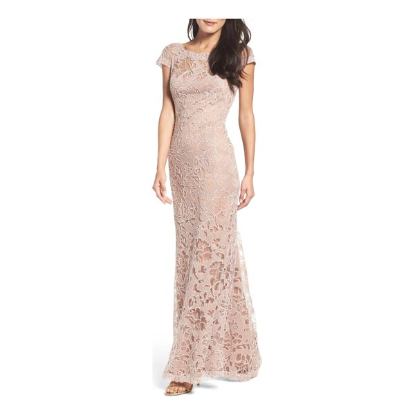 TADASHI SHOJI embroidered lace gown - Corded embroidery in rich floral  patterns gives texture and.