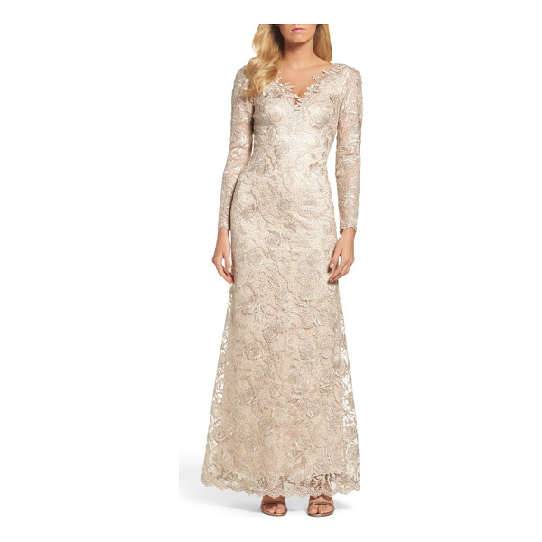 TADASHI SHOJI embroidered lace gown - Corded embroidery in rich floral patterns gives texture and...