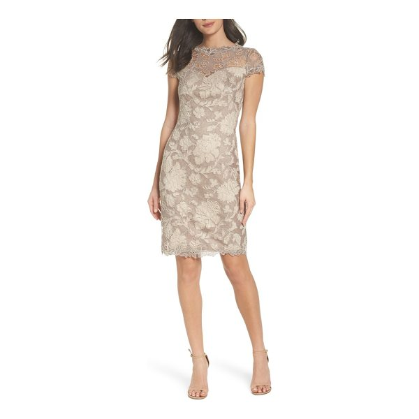 TADASHI SHOJI embroidered lace sheath dress - This gossamer lace dress shimmers with metallic embroidery...
