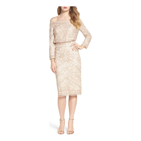 TADASHI SHOJI embroidered off the shoulder blouson dress - Shimmering sequins illuminate the lacy texture of a lovely...