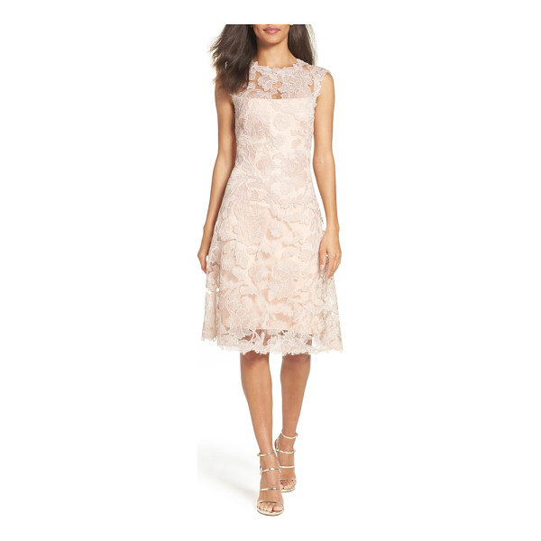 TADASHI SHOJI fit & flare dress - Corded embroidery over pastel lace builds up the classic...