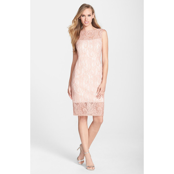 TADASHI SHOJI illusion bonded lace sheath dress - Light pink lace lends charming romance to a classic...