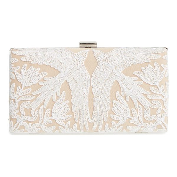 TADASHI SHOJI lace clutch - Bird-patterned lace adds elegant charm to this...