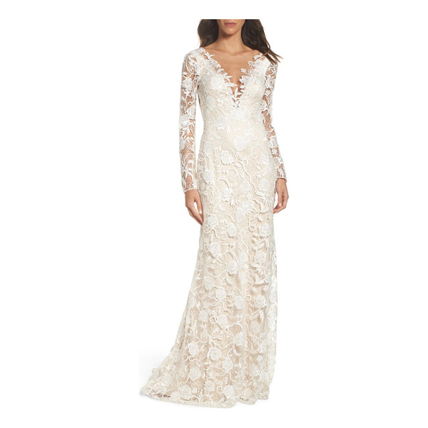 TADASHI SHOJI long sleeve a-line sheath gown - A gossamer overlay of openwork floral lace brings classic...