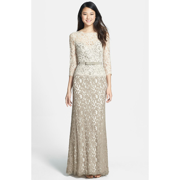 TADASHI SHOJI mock two piece lace gown - Two-toned lace fashions a stately, floor-sweeping gown...