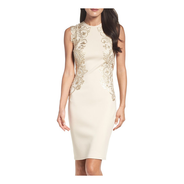 TADASHI SHOJI sequin applique neoprene sheath dress - Brocade-inspired patterns of shimmering sequins along the...
