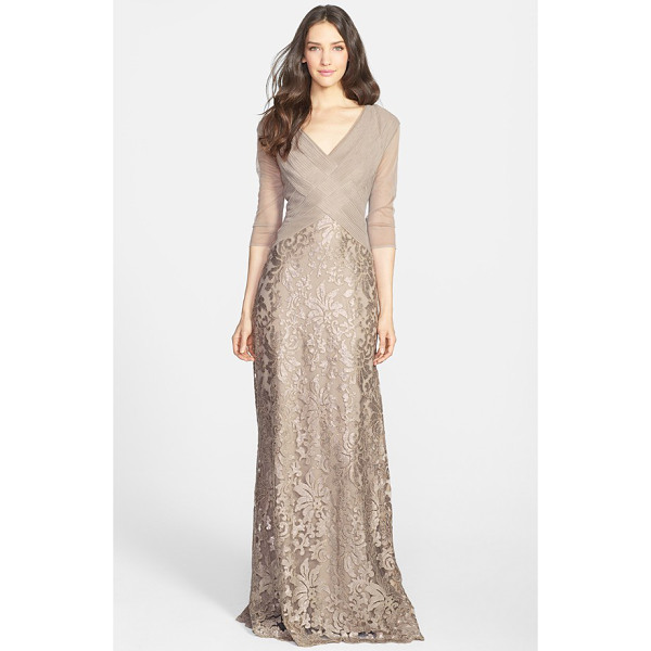TADASHI SHOJI sequin lace gown - Pintuck pleating adds to the elegance of a dreamy V-neck...