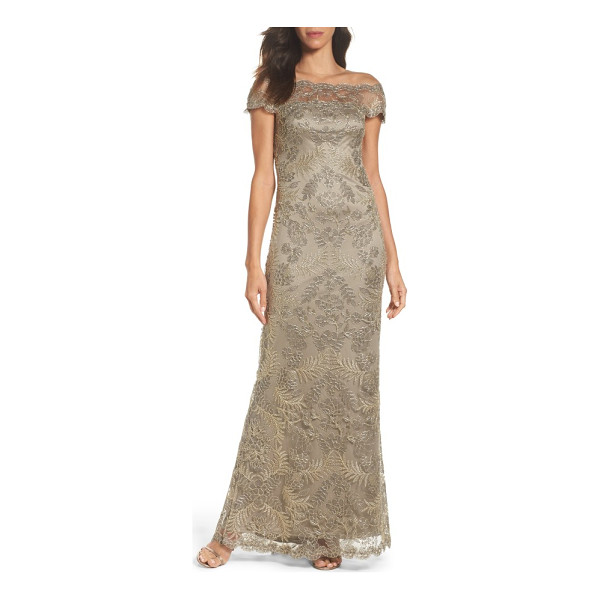 TADASHI SHOJI tulle gown - Silvery embroidery shimmers with great detail throughout...