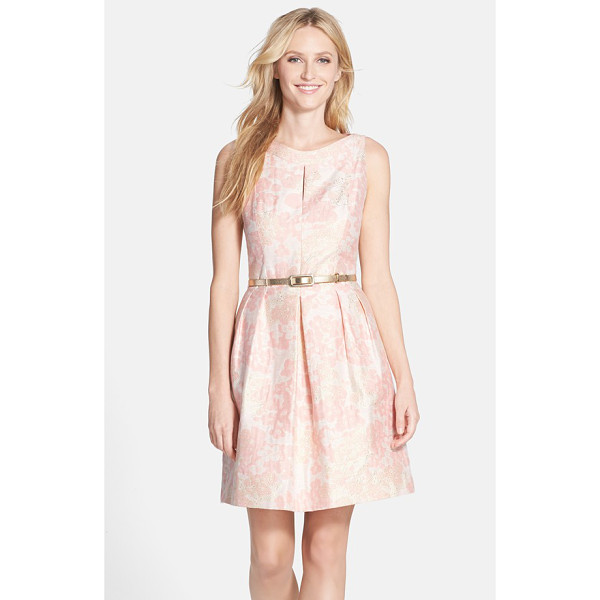TAHARI belted metallic floral jacquard fit & flare dress - Soft flowers dapple the lustrous jacquard of this darling...