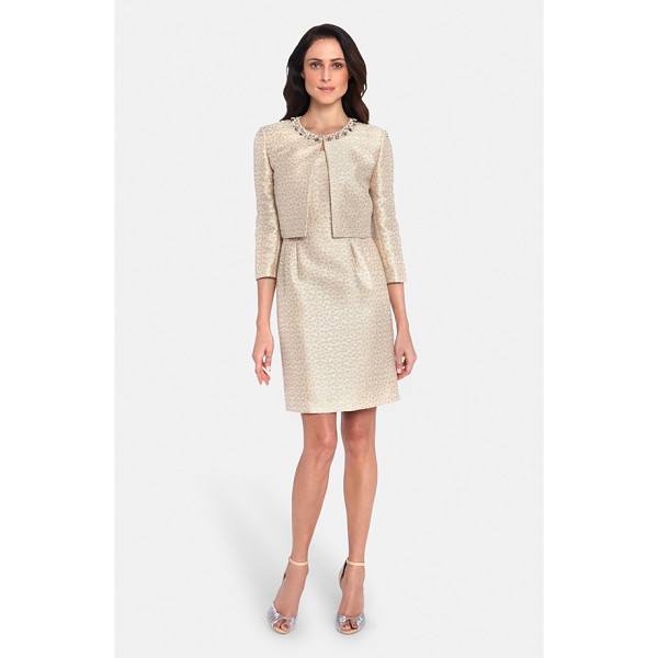 TAHARI embellished jacquard sheath dress with jacket - A luminous jacquard pattern runs throughout this flattering...