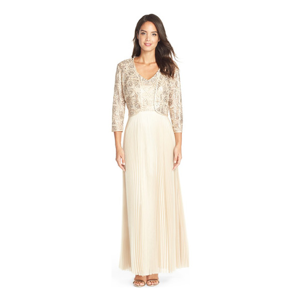 TAHARI embellished pleat organza gown with open front jacket - Delicate embroidery and sequins dazzle the bodice of this...