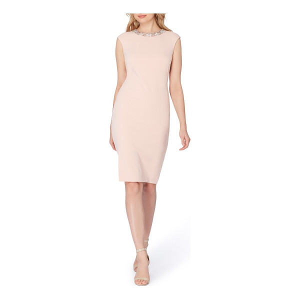 TAHARI embellished scuba sheath dress - Versatile, flattering and pre-accessorized, this stretchy...