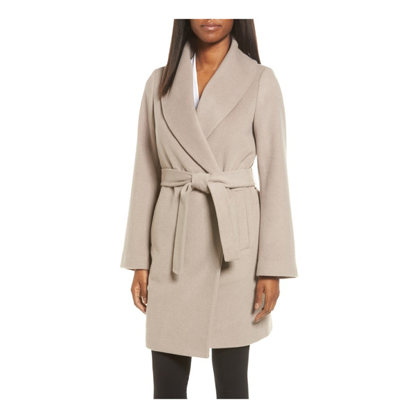 TAHARI gabrielle wool blend long wrap coat - A warm wool-blend coat with softly brushed texture and...