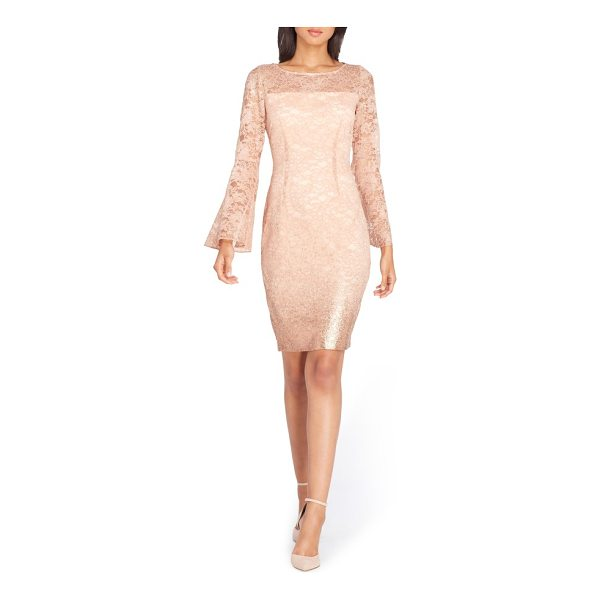 TAHARI lace bell sleeve sheath dress - With a sparkling lace overlay and swingy bell sleeves, this...
