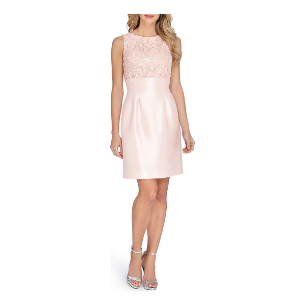 TAHARI mixed media fit & flare dress - A fitted bodice sumptuously textured in embroidery, lace...