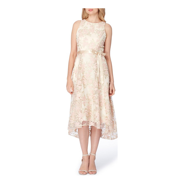 TAHARI floral embroidered tea length dress - Classically sweet and ethereal in floral embroidered lace...