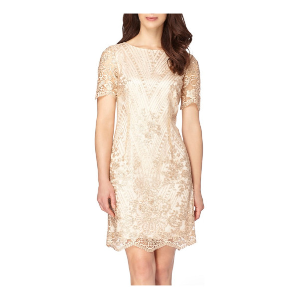 TAHARI sequin lace shift dress - A golden gleam in great detail romances this comfortable...