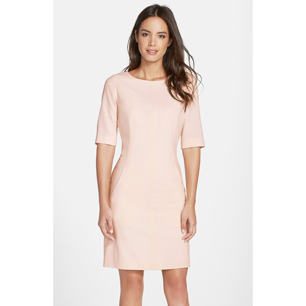 TAHARI seamed a-line dress - Strategic vertical seaming sculpts a relaxed A-line dress...