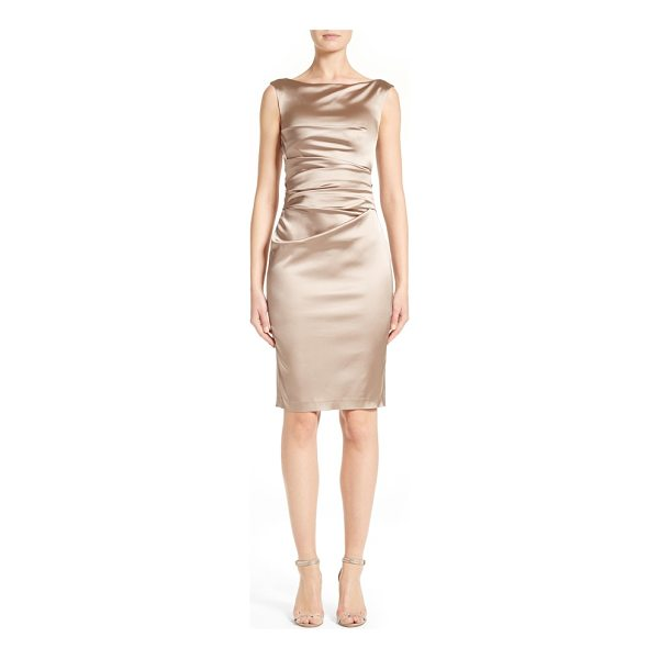 TALBOT RUNHOF stretch satin sheath dress - Cleverly tucked pleats drape elegantly across the front and...